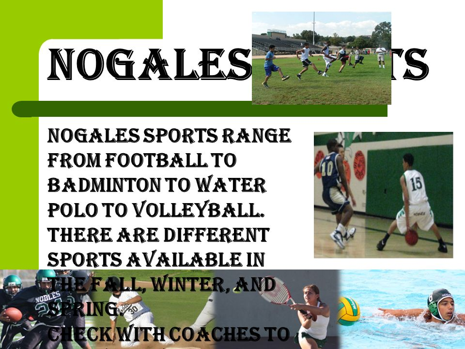 Nogales Sports Nogales sports range from football to badminton to water polo to volleyball.