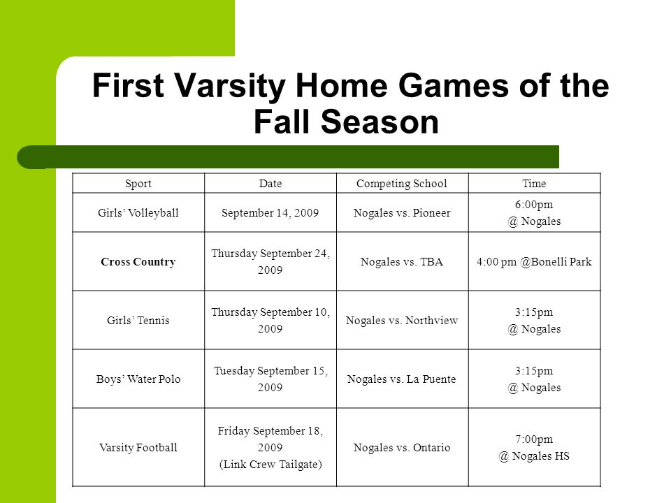 First Varsity Home Games of the Fall Season