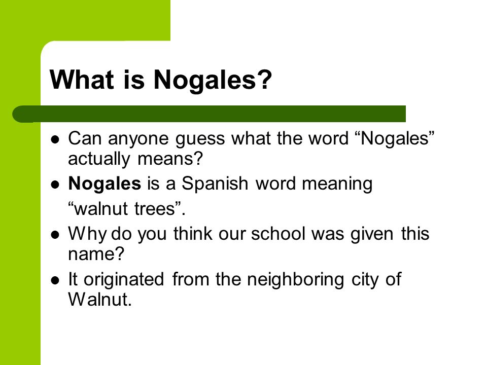 What is Nogales Can anyone guess what the word Nogales actually means Nogales is a Spanish word meaning.