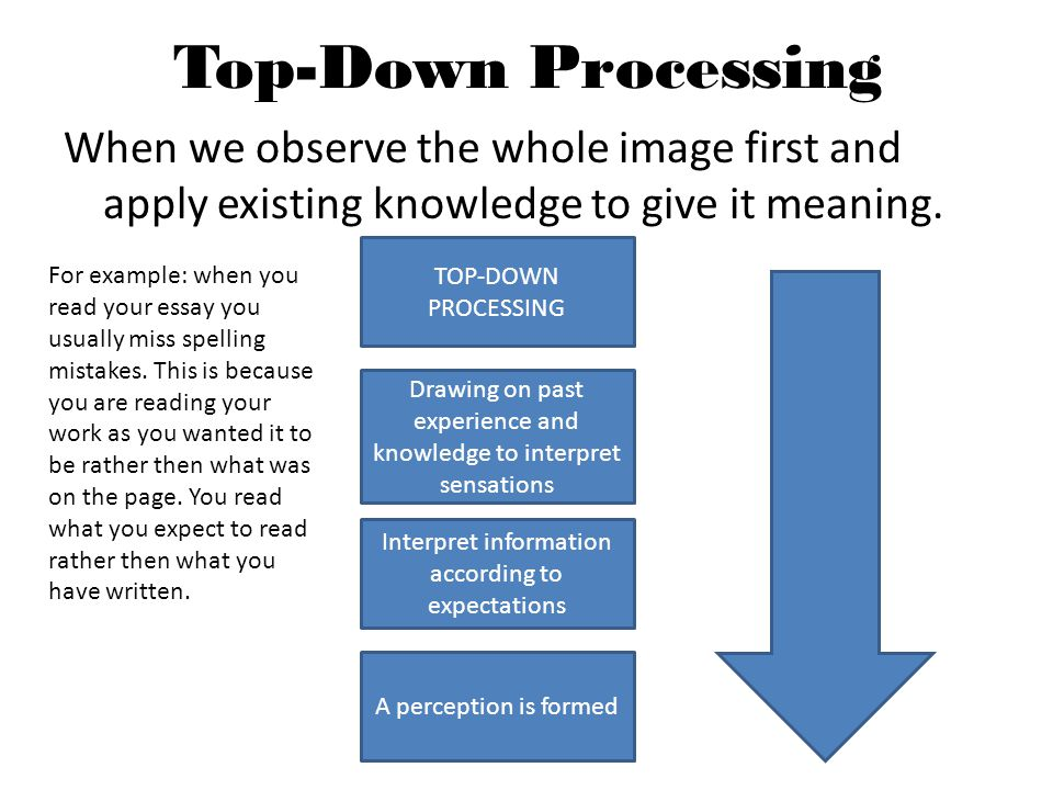 advantages top down processing in reading Advantages of top-down budgeting the budget features an overall corporate functional approach because senior management is concerned with the overall growth top-down budgeting creates one budget at a time, rather than allowing departments to develop their budgets and later combining them.