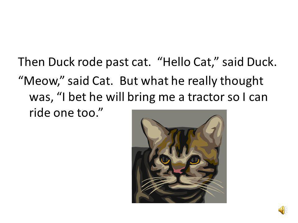 Then Duck rode past cat. Hello Cat, said Duck. Meow, said Cat