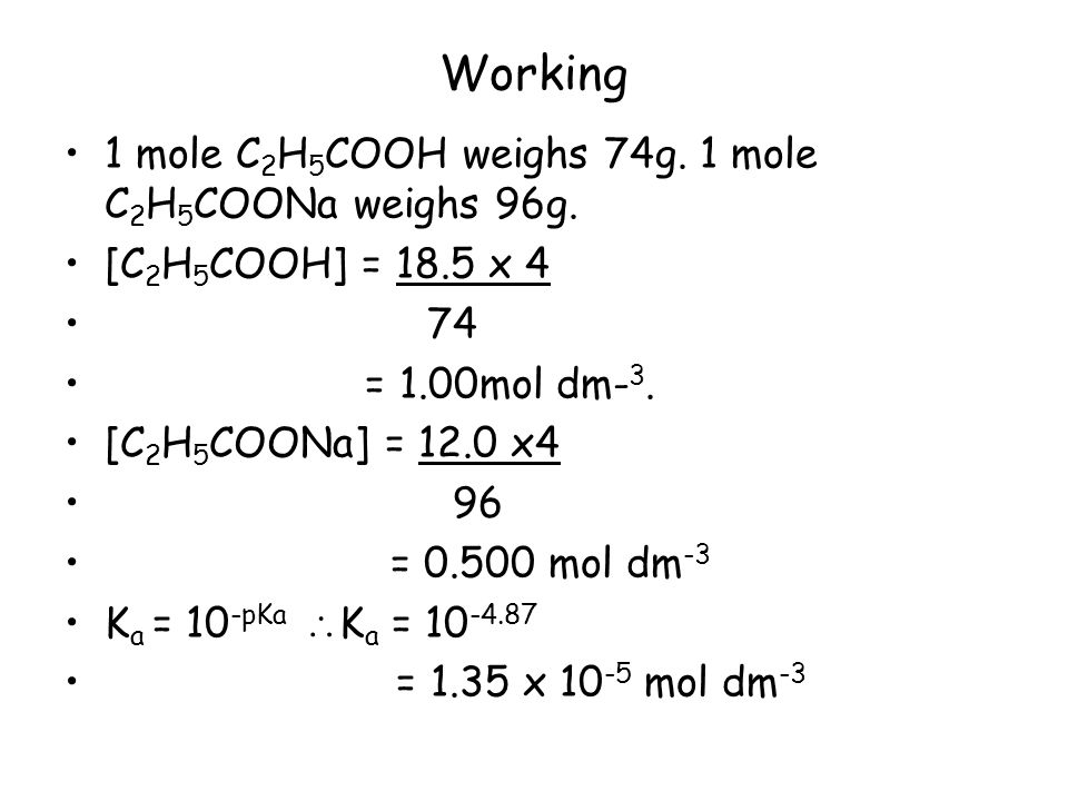 Working 1 mole C2H5COOH weighs 74g. 1 mole C2H5COONa weighs 96g.