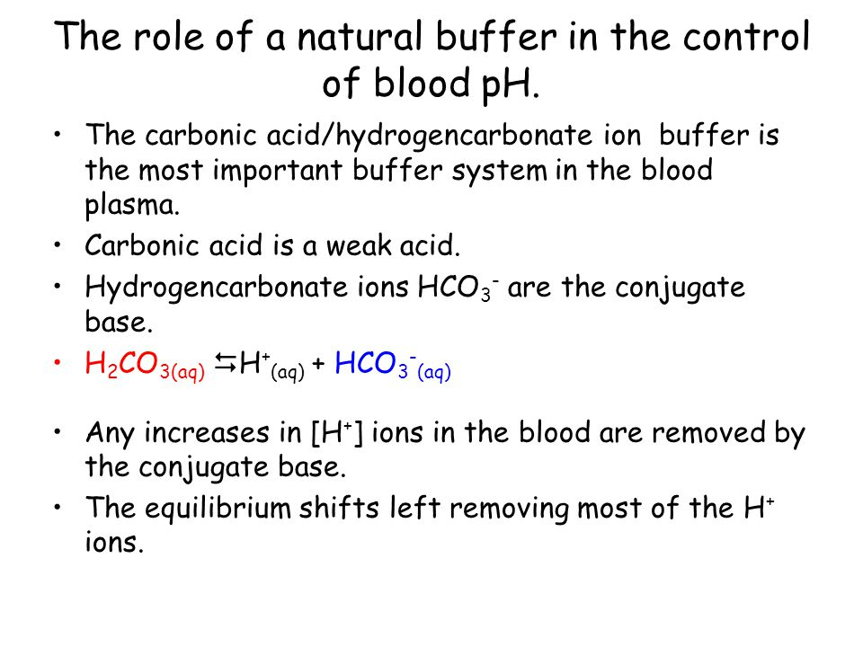 The role of a natural buffer in the control of blood pH.