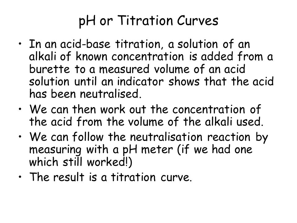 pH or Titration Curves