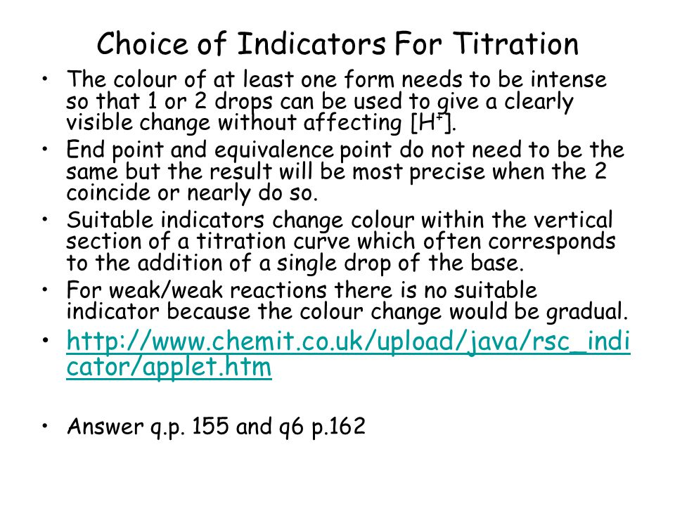 Choice of Indicators For Titration