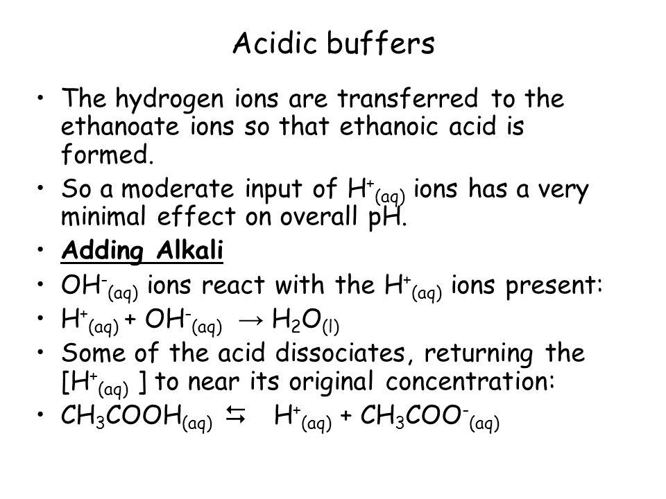Acidic buffers The hydrogen ions are transferred to the ethanoate ions so that ethanoic acid is formed.