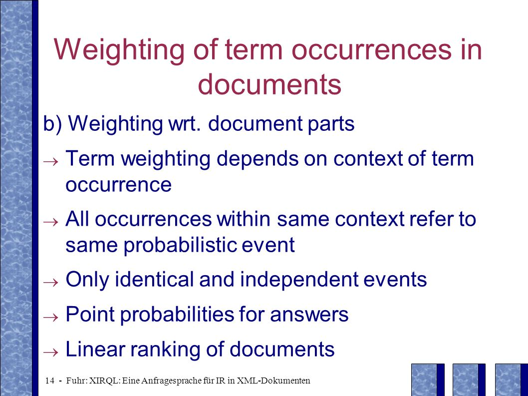 Weighting of term occurrences in documents