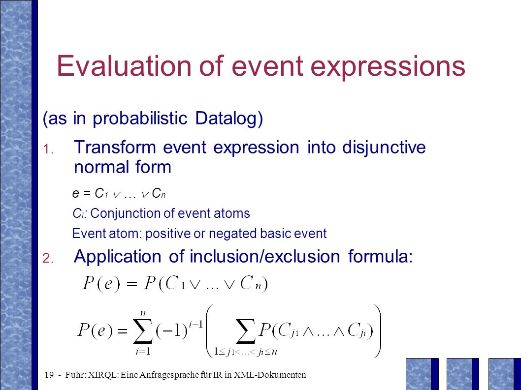 Evaluation of event expressions