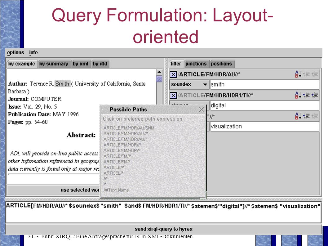 Query Formulation: Layout-oriented