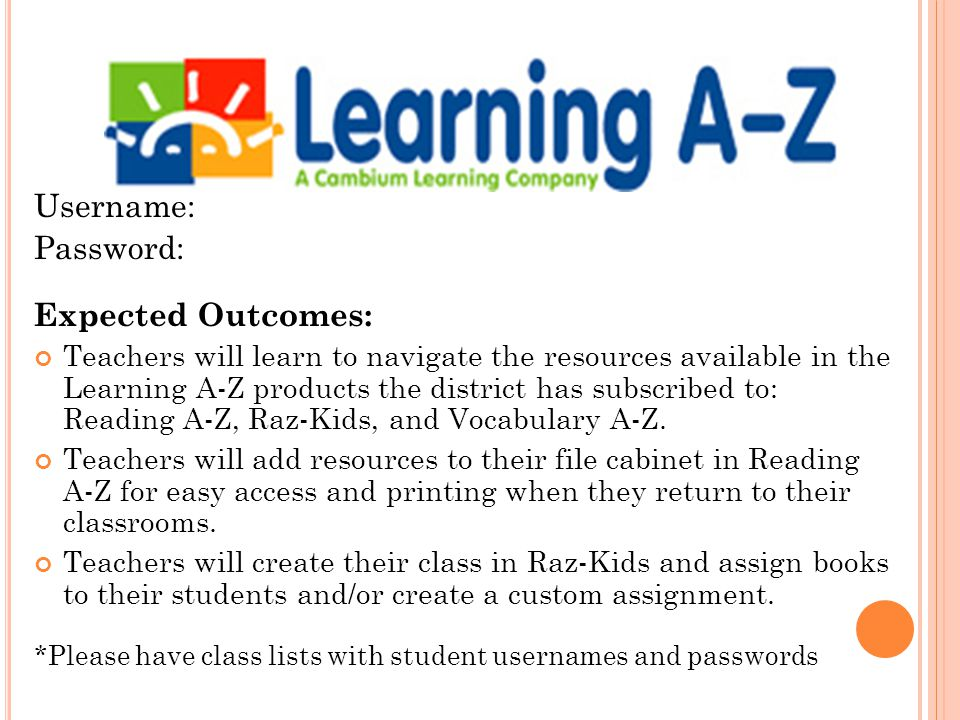 reading a-z username and password