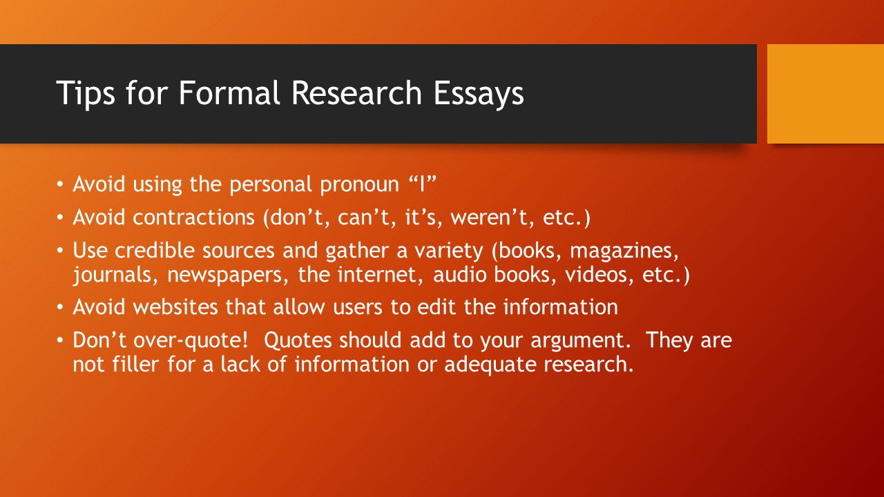 Tips for Formal Research Essays