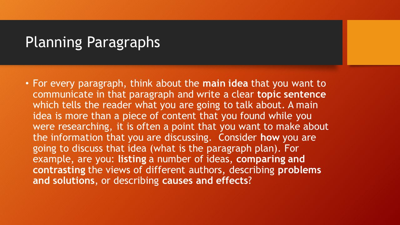 Planning Paragraphs