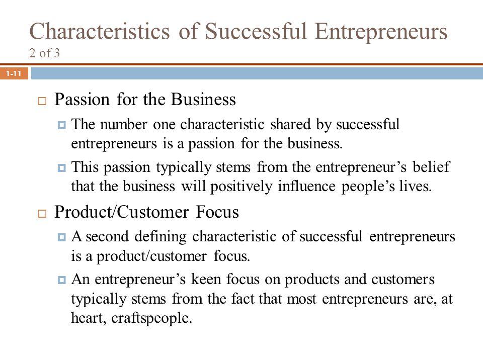 three characteristics of a successful entrepreneur