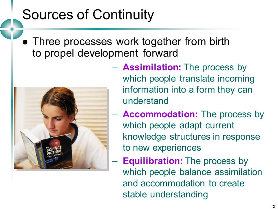 Sources of Continuity Three processes work together from birth to propel development forward.