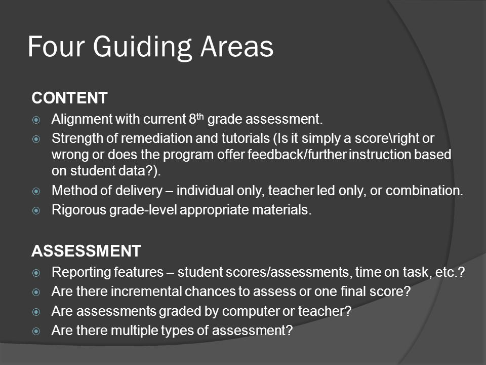 Four Guiding Areas CONTENT ASSESSMENT