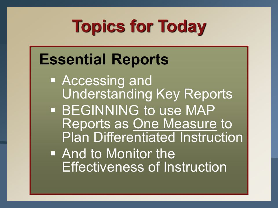 Topics for Today Essential Reports