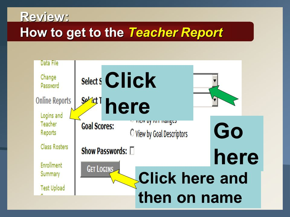 Review: How to get to the Teacher Report