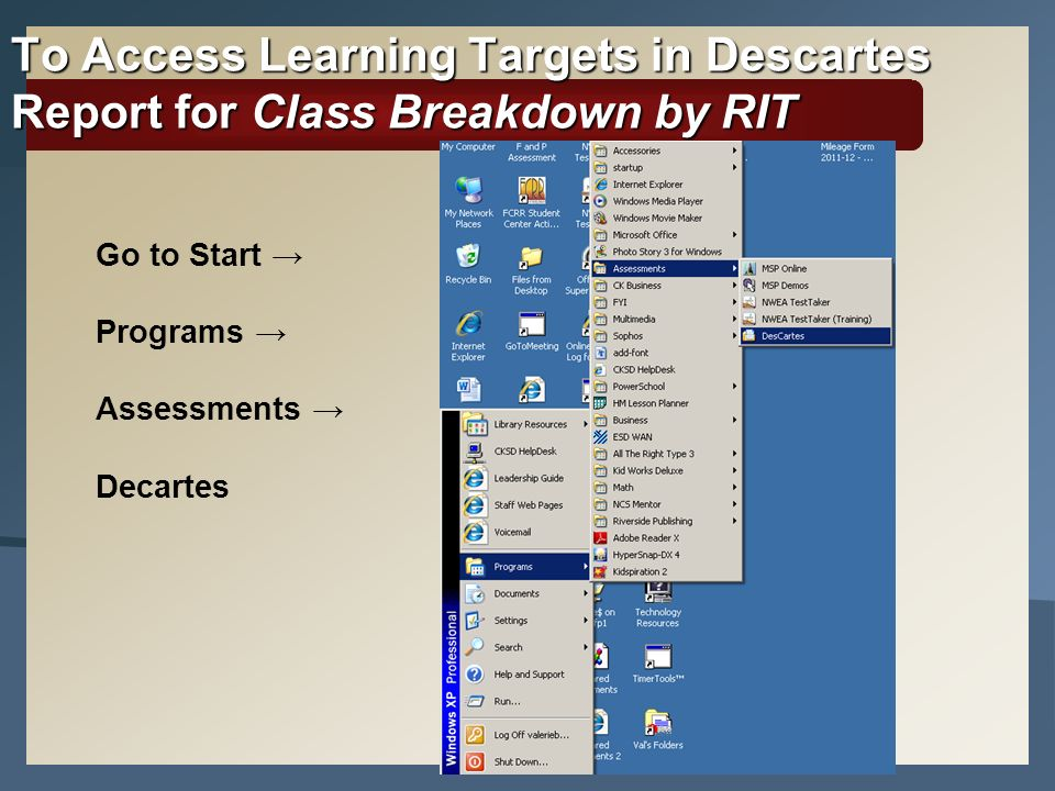 To Access Learning Targets in Descartes Report for Class Breakdown by RIT