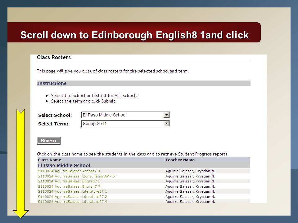 Scroll down to Edinborough English8 1and click
