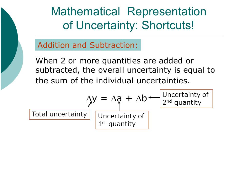 Mathematical Representation of Uncertainty: Shortcuts!