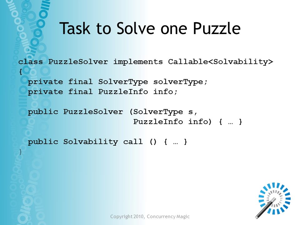 Task to Solve one Puzzle