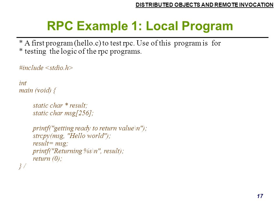 RPC Example 1: Local Program
