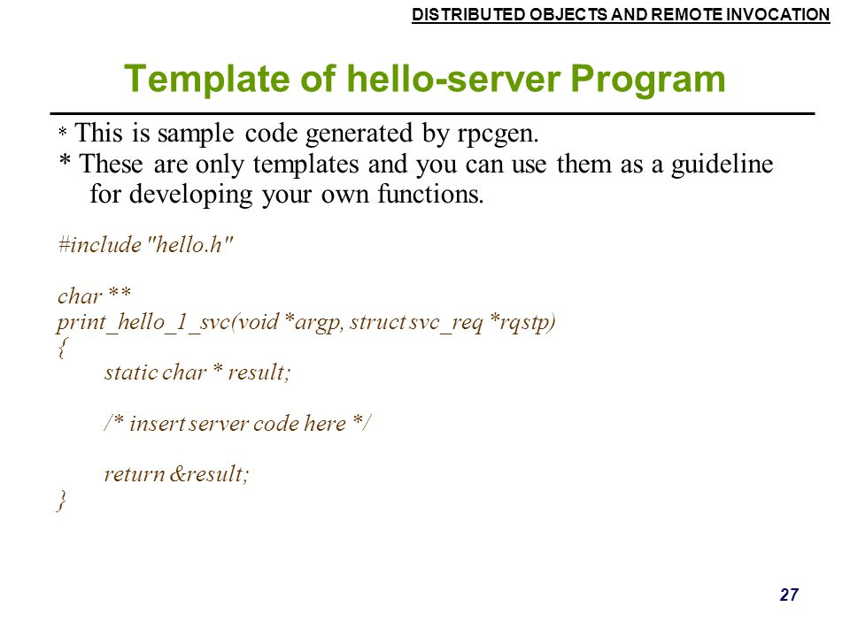 Template of hello-server Program