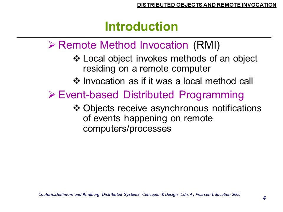 Introduction Remote Method Invocation (RMI)