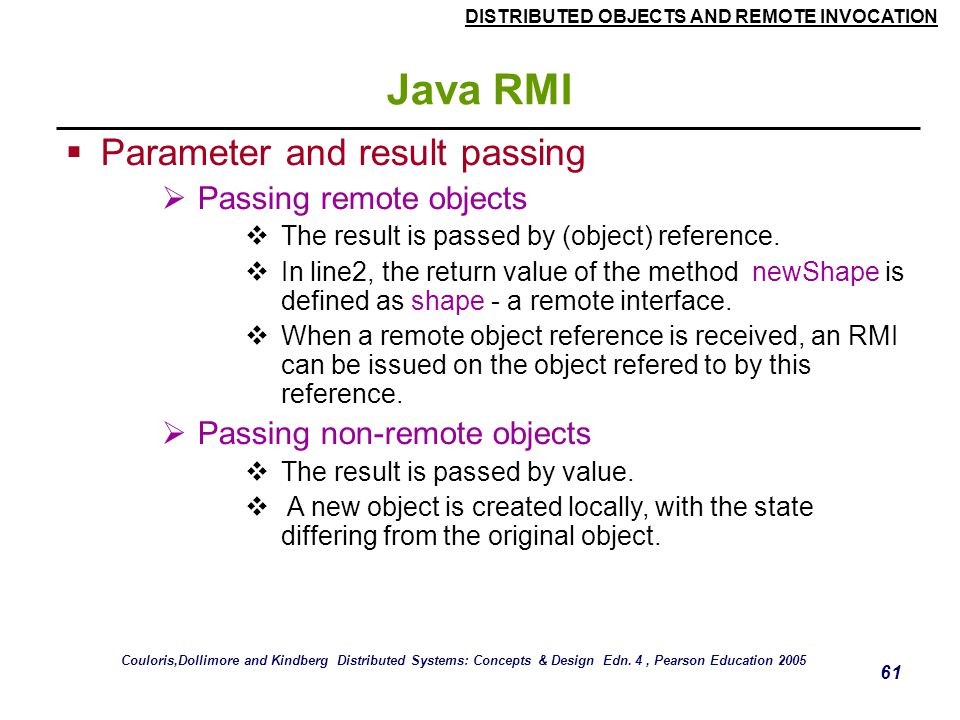 Java RMI Parameter and result passing Passing remote objects