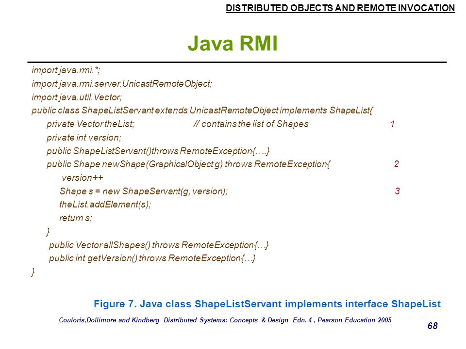 Java RMI import java.rmi.*; import java.rmi.server.UnicastRemoteObject; import java.util.Vector;