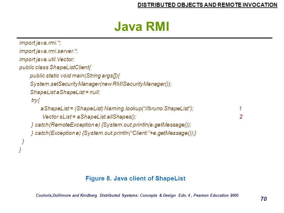 Java RMI Figure 8. Java client of ShapeList import java.rmi.*;