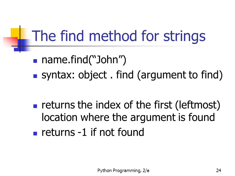 The find method for strings