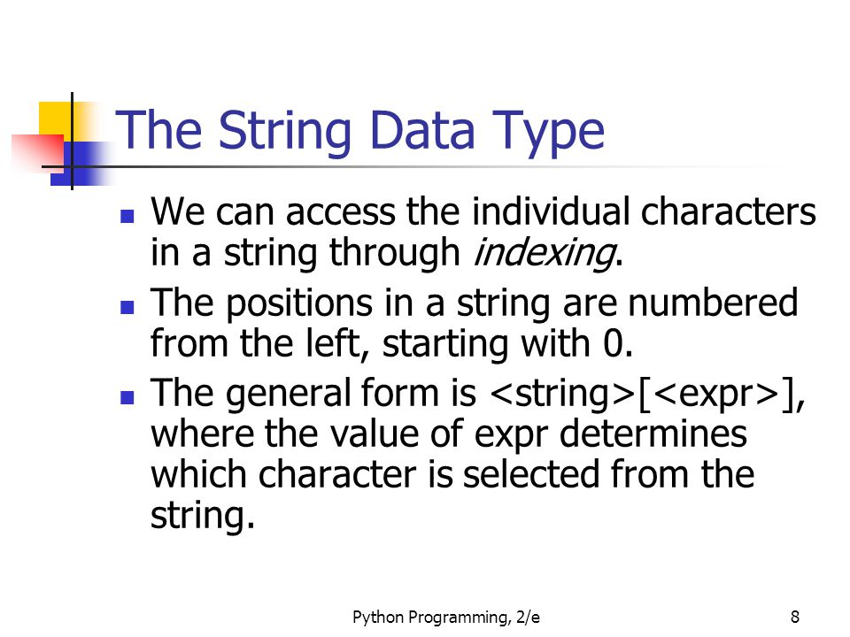 The String Data Type We can access the individual characters in a string through indexing.