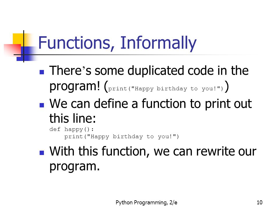Functions, Informally There's some duplicated code in the program! (print( Happy birthday to you! ))