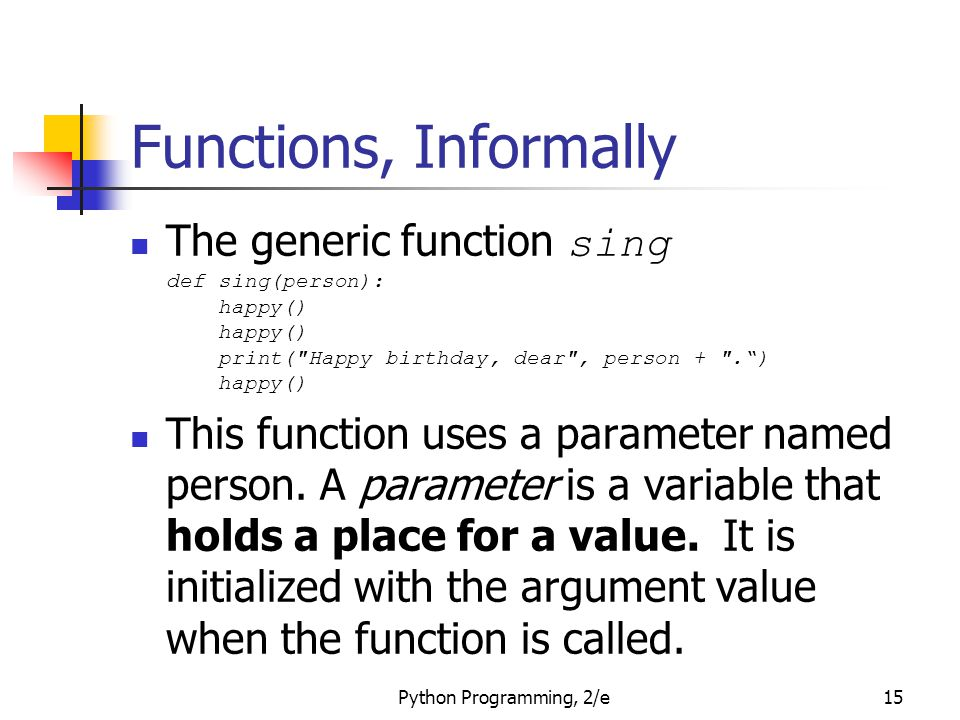 Functions, Informally The generic function sing def sing(person): happy() happy() print( Happy birthday, dear , person + . ) happy()
