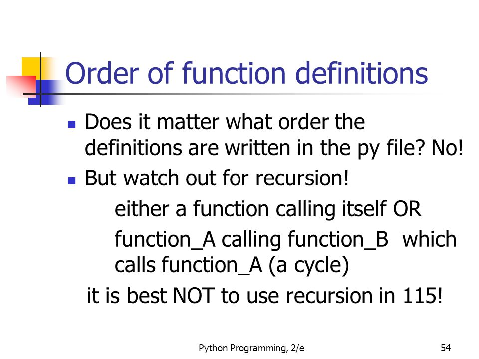 Order of function definitions