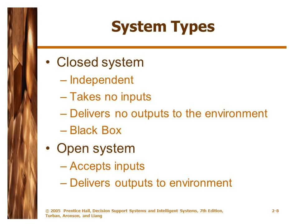System Types Closed system Open system Independent Takes no inputs