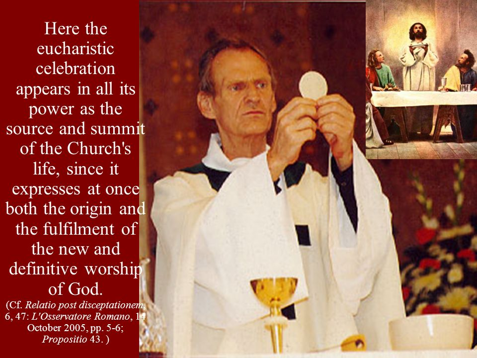 Here the eucharistic celebration appears in all its power as the source and summit of the Church s life, since it expresses at once both the origin and the fulfilment of the new and definitive worship of God.