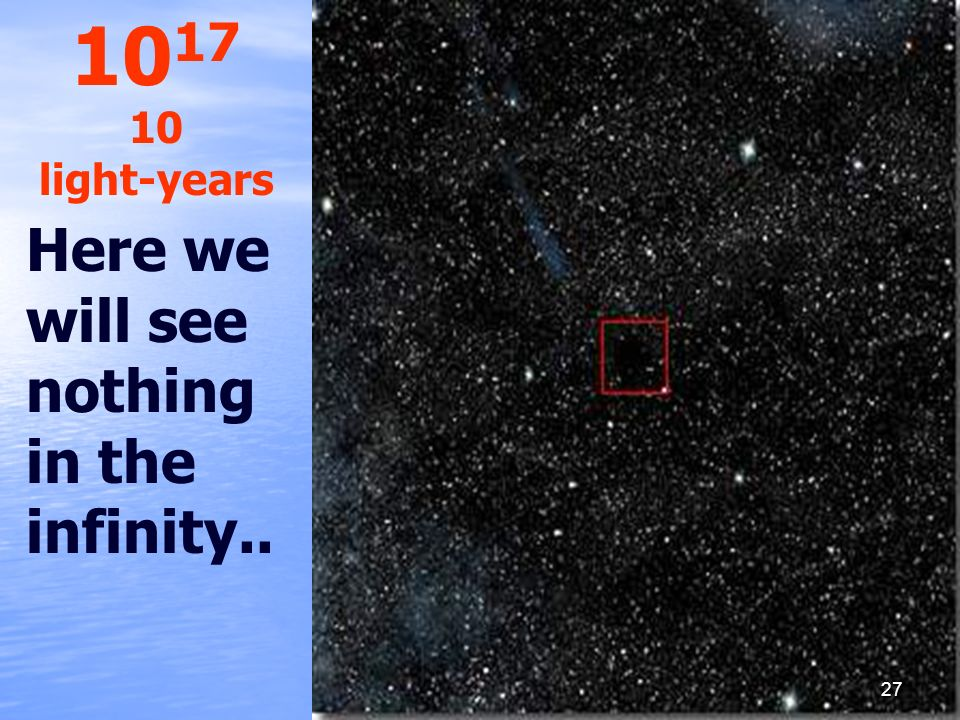 1017 10 light-years Here we will see nothing in the infinity..