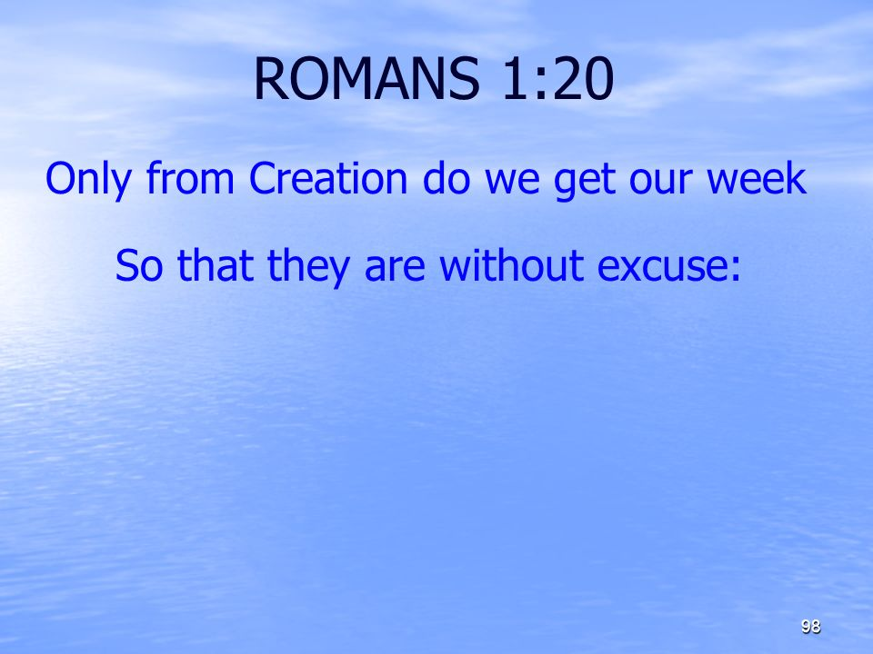 ROMANS 1:20 Only from Creation do we get our week