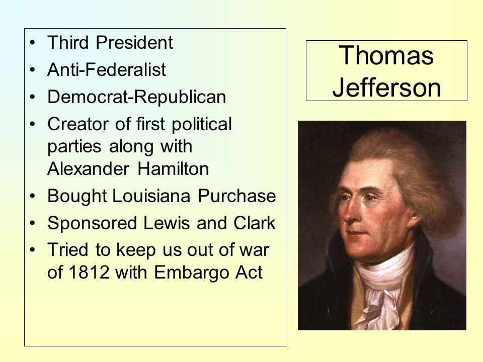 Thomas Jefferson Third President Anti-Federalist Democrat-Republican