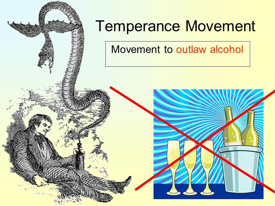 Temperance Movement Movement to outlaw alcohol