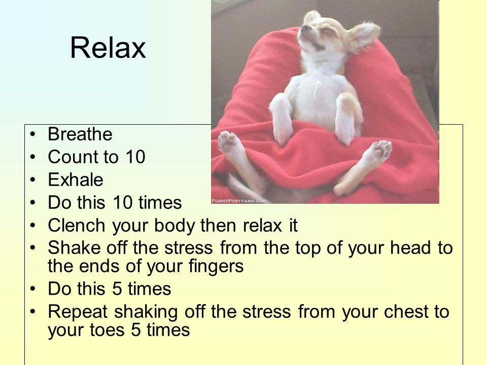 Relax Breathe Count to 10 Exhale Do this 10 times