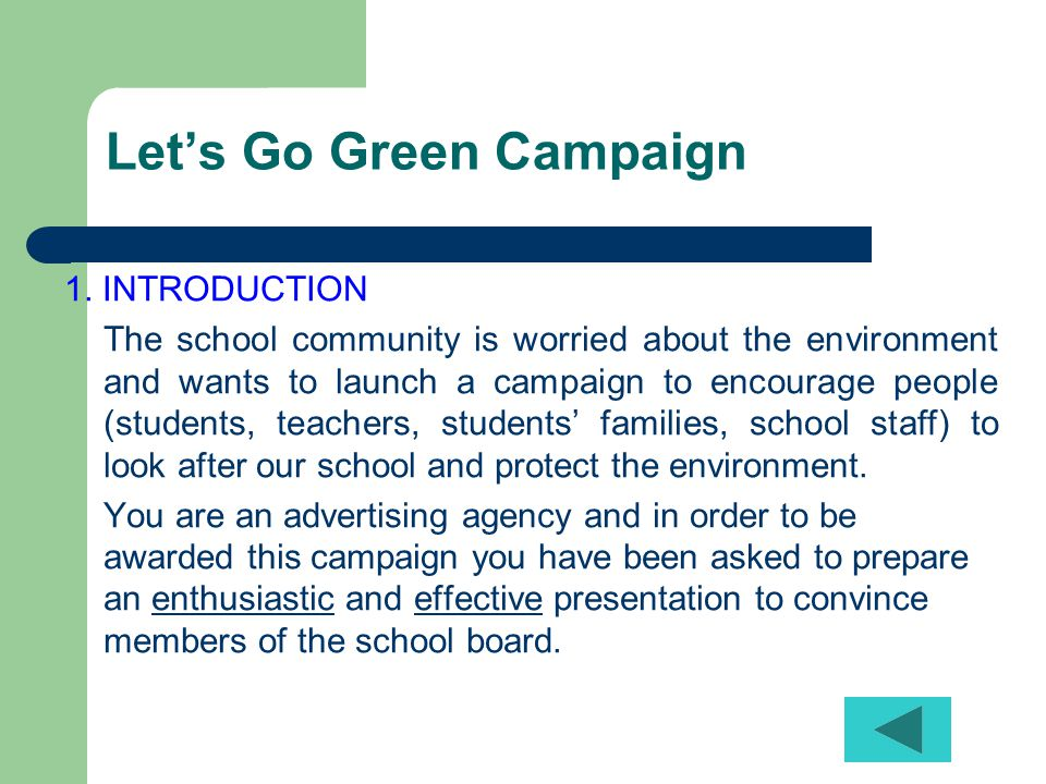 Let's Go Green Campaign