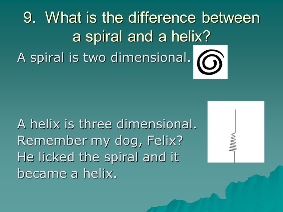 9. What is the difference between a spiral and a helix
