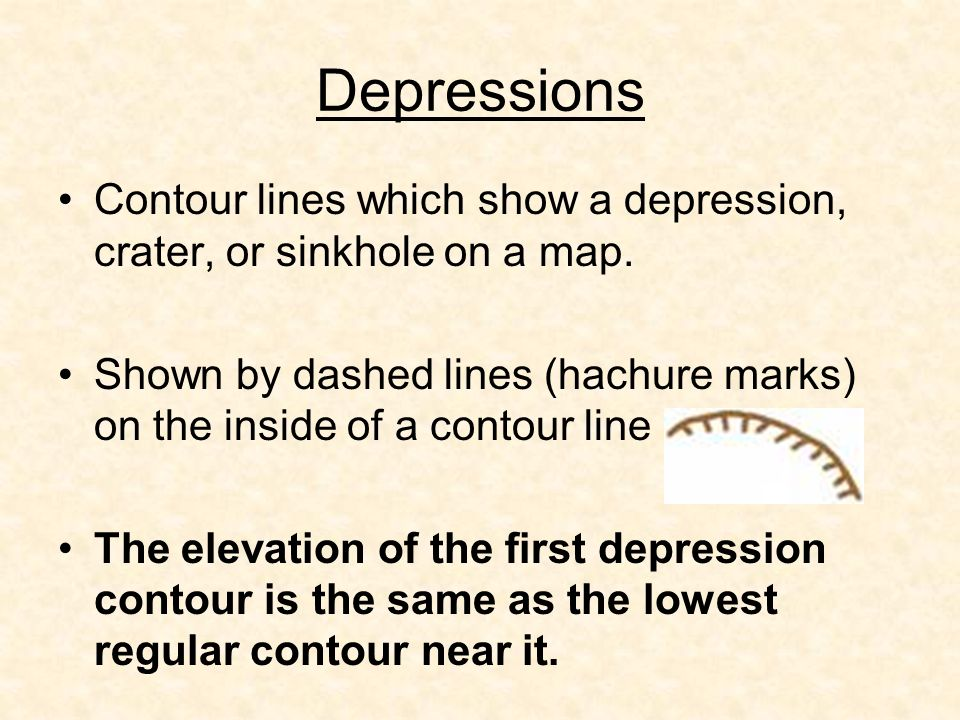 Depressions Contour lines which show a depression, crater, or sinkhole on a map.