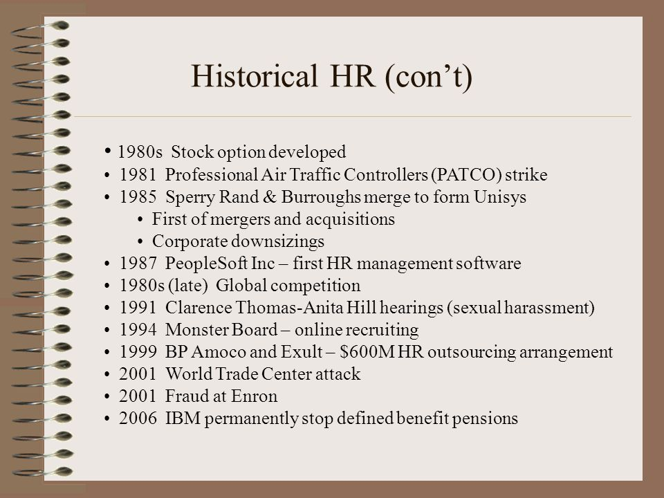 Historical HR (con't) 1980s Stock option developed