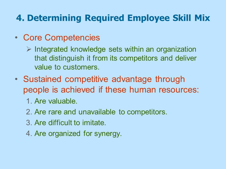 4. Determining Required Employee Skill Mix