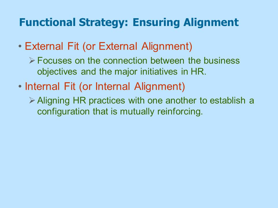 Functional Strategy: Ensuring Alignment