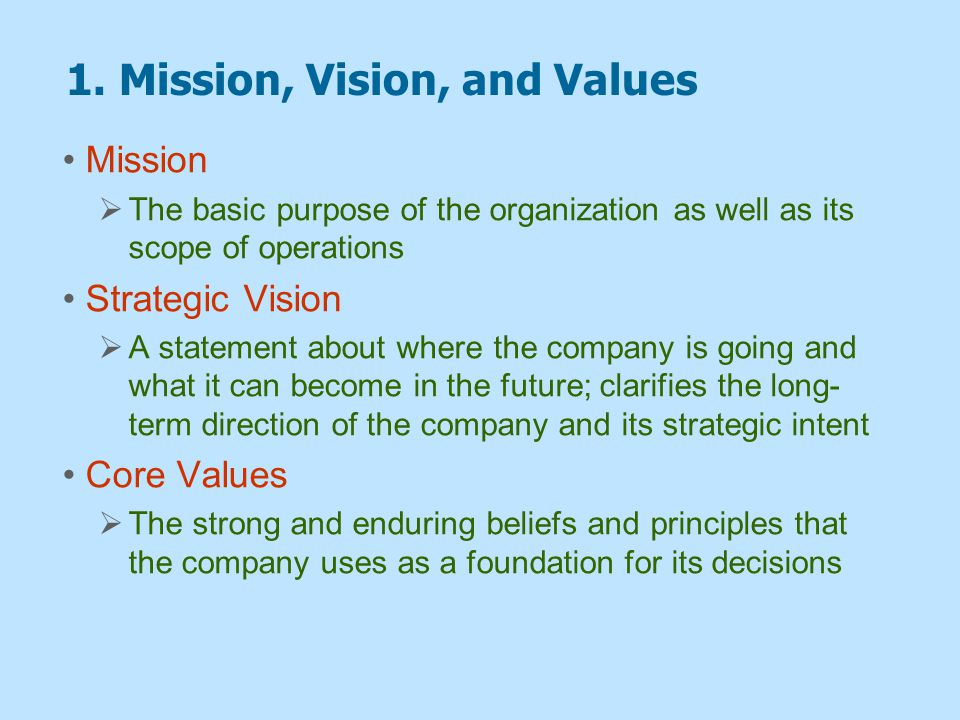 1. Mission, Vision, and Values